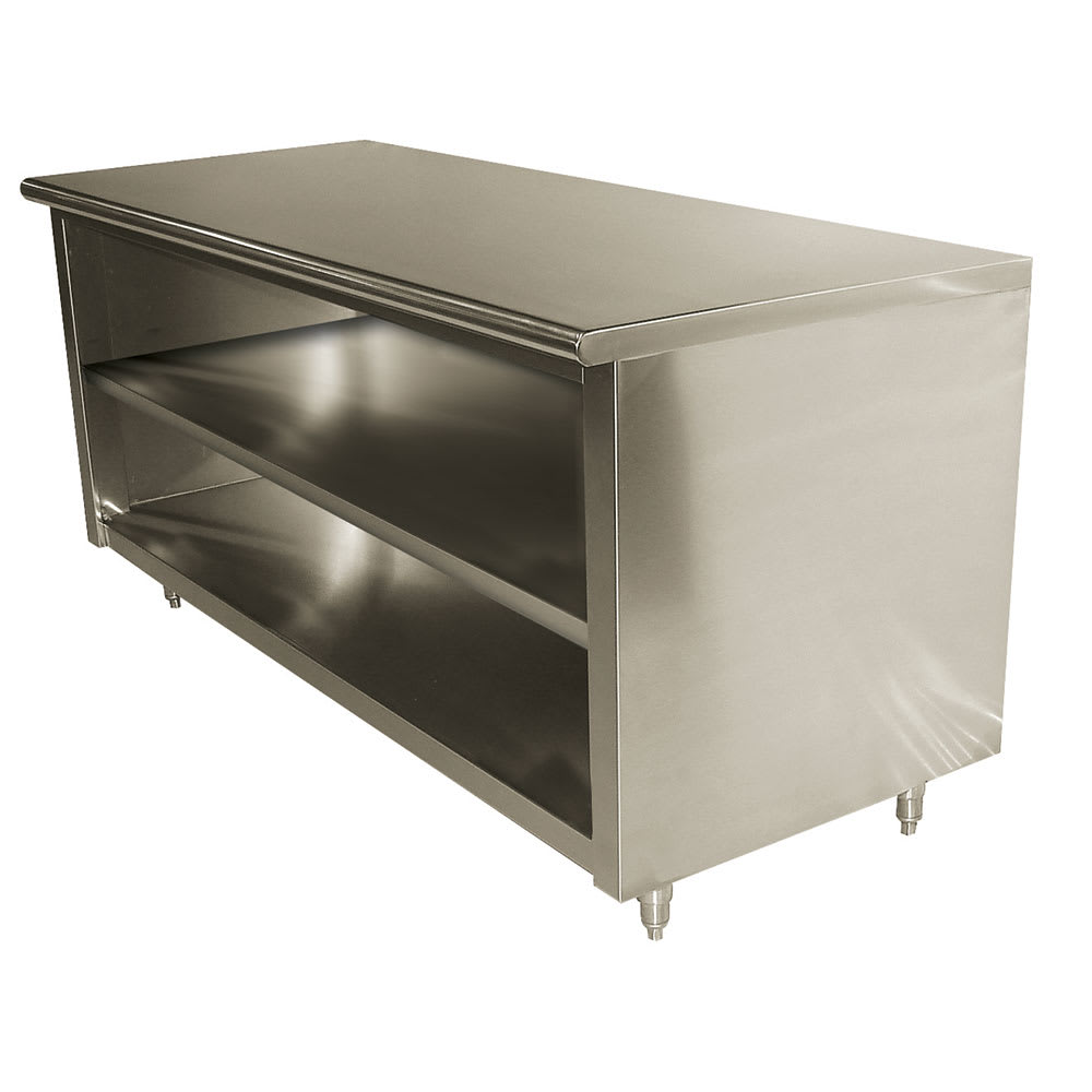 "Advance Tabco EB-SS-306M 72"" Enclosed Work Table w/ Open Base & Midshelf, 30""D"