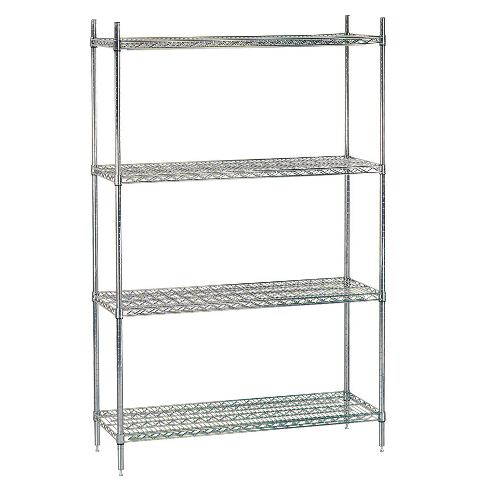 "Advance Tabco ECC-1436RE Shelving Unit - 4-Shelves, 4-Posts, 74x14x48"", Wire, Chrome"