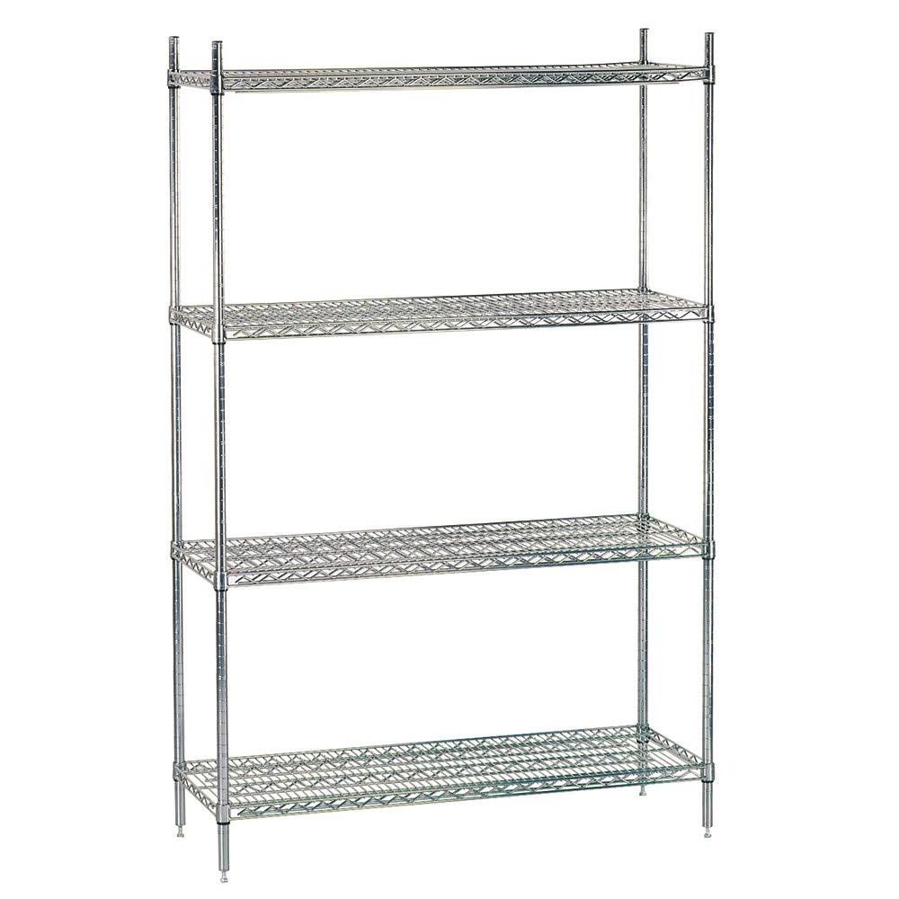 "Advance Tabco ECC-1836RE Residential Shelving Unit - 4-Shelves, 4-Posts, 74x18x36"", Wire, Chrome"