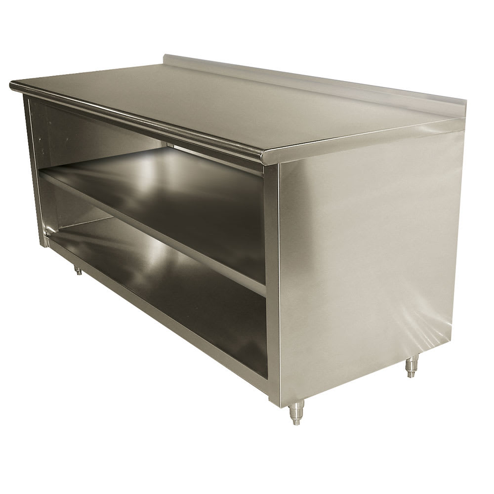 "Advance Tabco EF-SS-309M 108"" Enclosed Work Table w/ Open Base & Midshelf, 1.5"" Backsplash, 30""D"