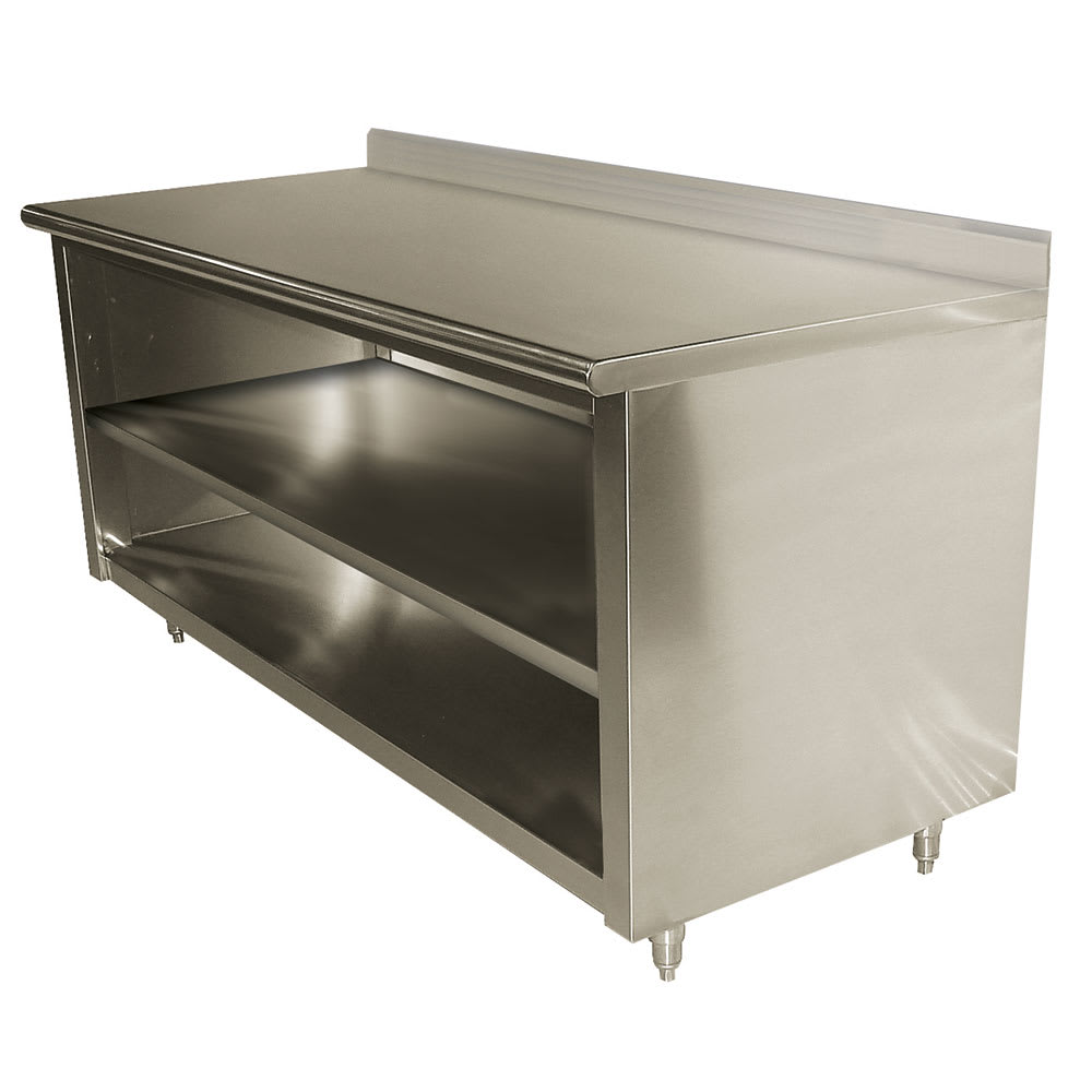 "Advance Tabco EK-SS-3010M 120"" Enclosed Work Table w/ Open Base & Midshelf, 5"" Backsplash, 30""D"