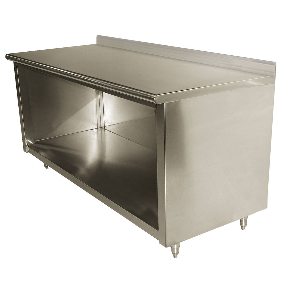 "Advance Tabco EK-SS-368 96"" Enclosed Work Table w/ Open Base & 5"" Backsplash, 36""D"
