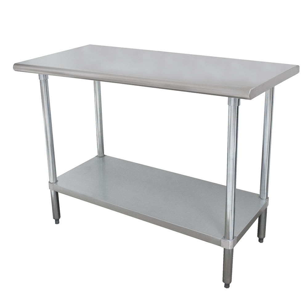 "Advance Tabco ELAG-368 96"" 16-ga Work Table w/ Undershelf & 430-Series Stainless Flat Top"