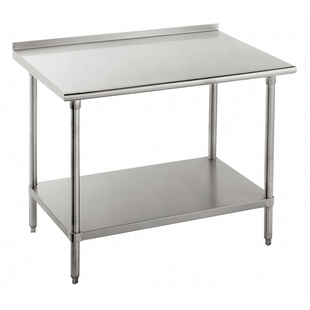 "Advance Tabco FAG-307 84"" 16 ga Work Table w/ Undershelf & 430 Series Stainless Top, 1.5"" Backsplash"