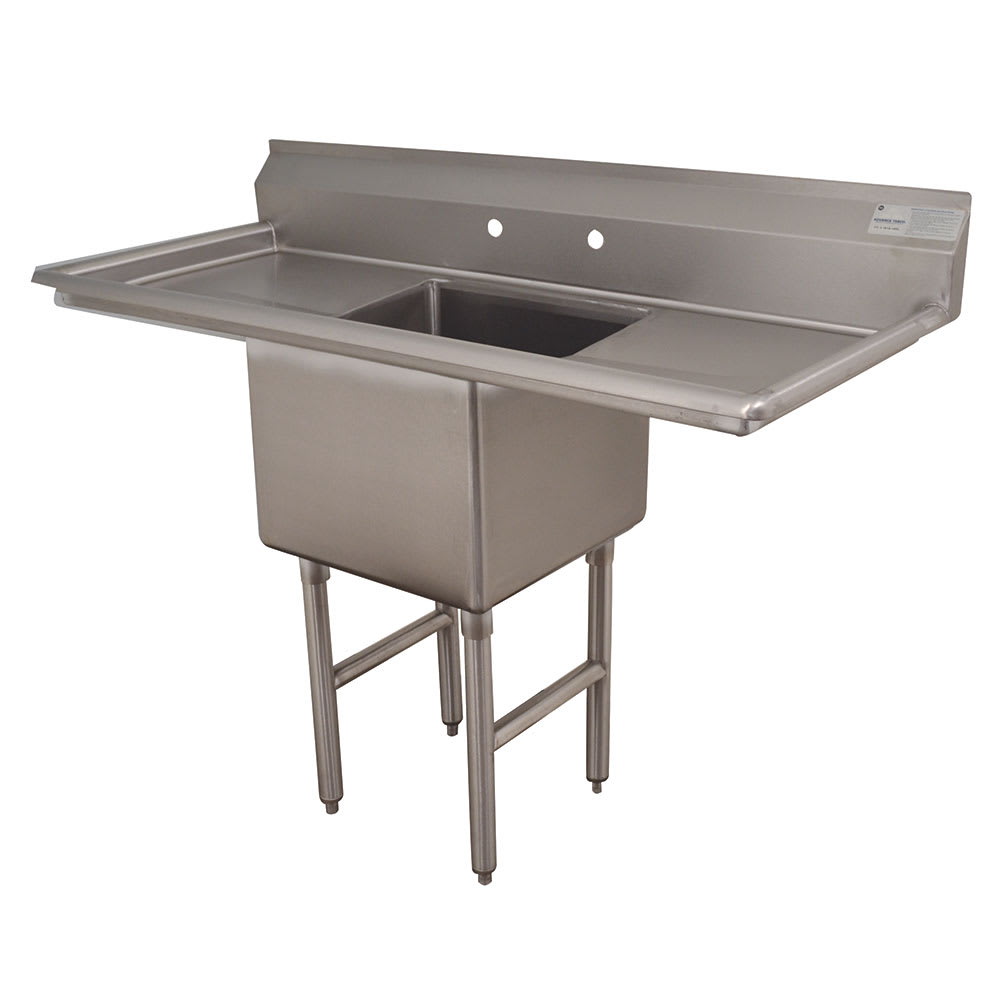 "Advance Tabco FC-1-1620-18RL 52"" 1-Compartment Sink w/ 16""L x 20""W Bowl, 14"" Deep"