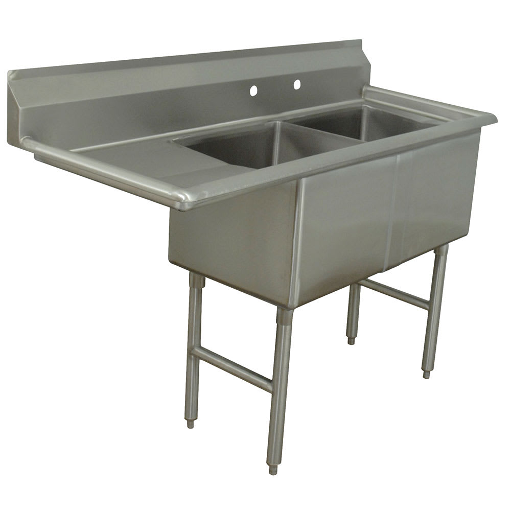"Advance Tabco FC-2-1620-18L 52.5"" 2 Compartment Sink w/ 16""L x 20""W Bowl, 14"" Deep"