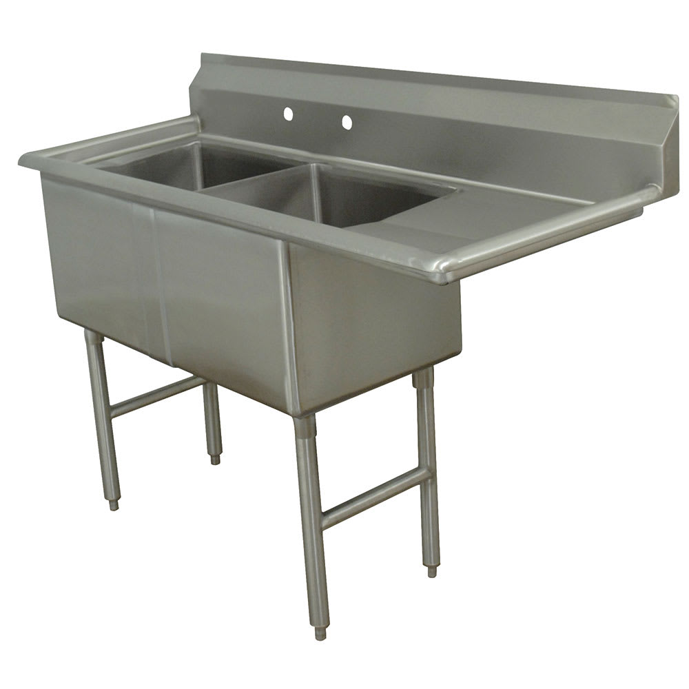 "Advance Tabco FC-2-1620-18R 52.5"" 2 Compartment Sink w/ 16""L x 20""W Bowl, 14"" Deep"