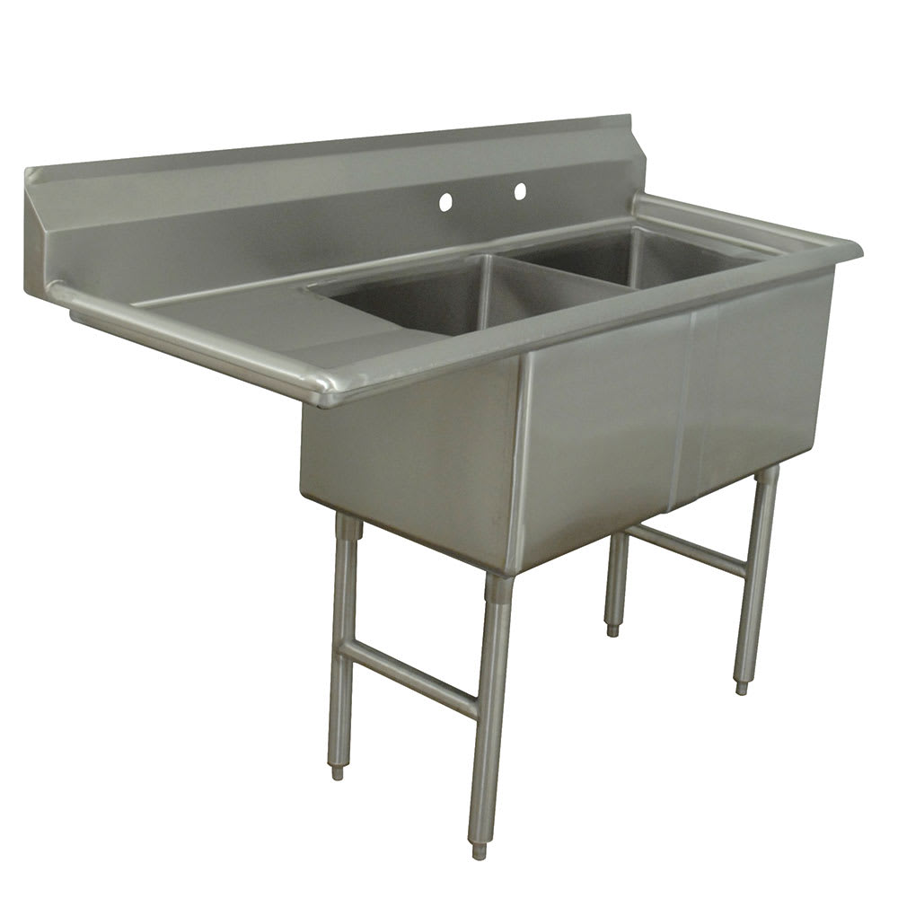 "Advance Tabco FC-2-1818-18L 56.5"" 2 Compartment Sink w/ 18""L x 18""W Bowl, 14"" Deep"