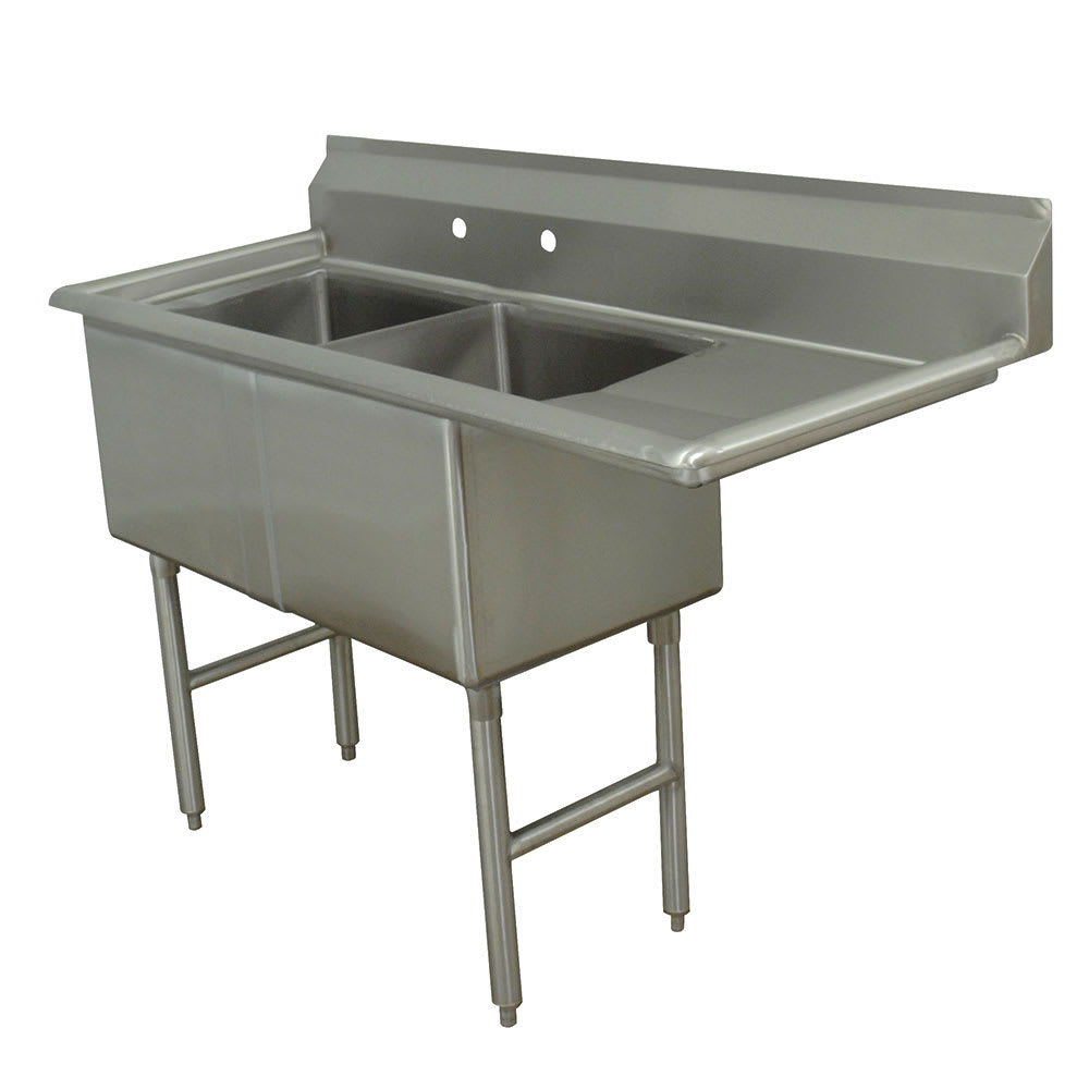 "Advance Tabco FC-2-1818-18R 56.5"" 2 Compartment Sink w/ 18""L x 18""W Bowl, 14"" Deep"