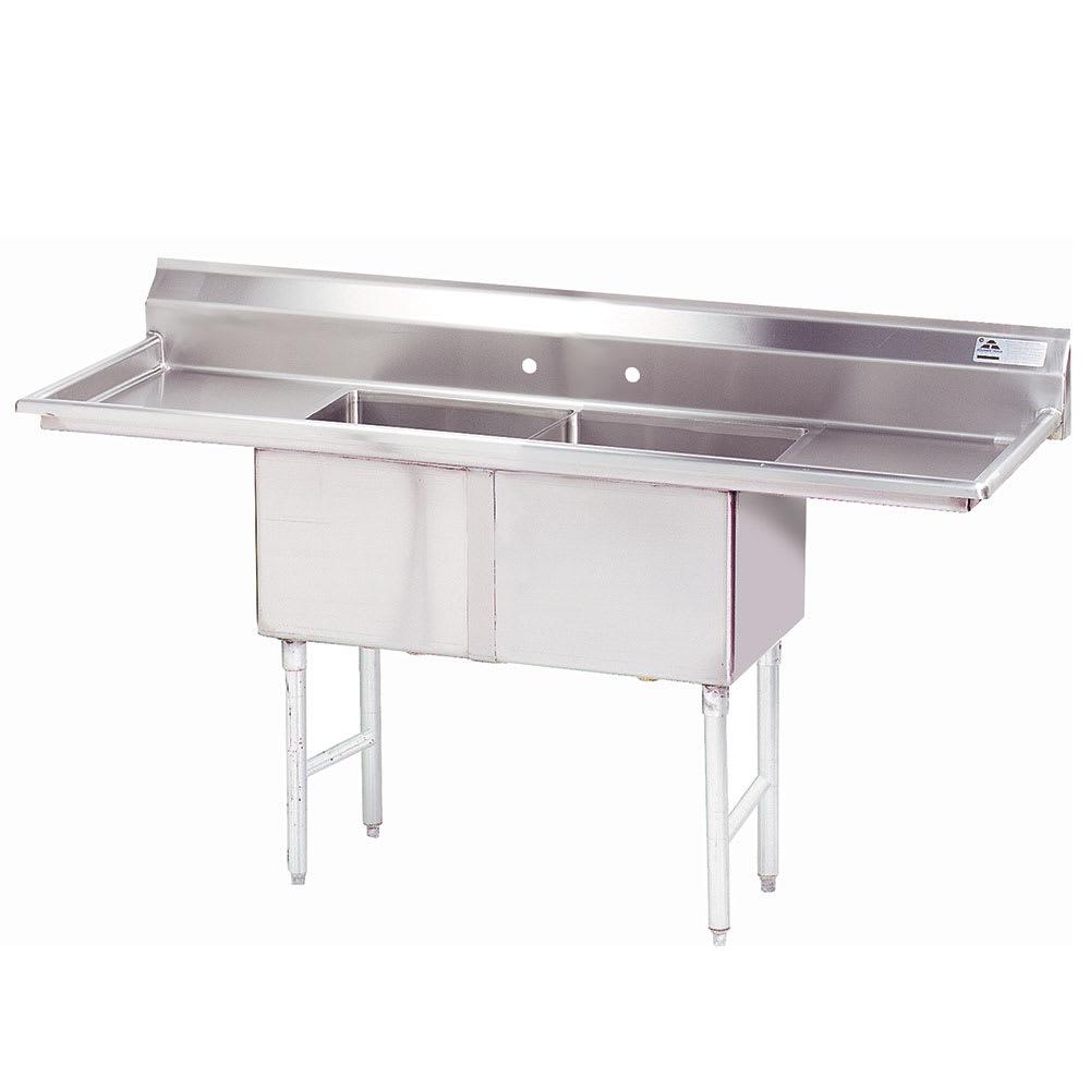 """Advance Tabco FC-2-1818-24RL-X 84"""" 2-Compartment Sink w/ 18""""L x 18""""W Bowl, 14"""" Deep"""