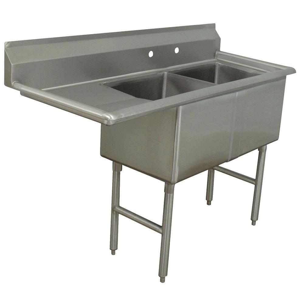 """Advance Tabco FC-2-1824-18L 56.5"""" 2 Compartment Sink w/ 18""""L x 24""""W Bowl, 14"""" Deep"""