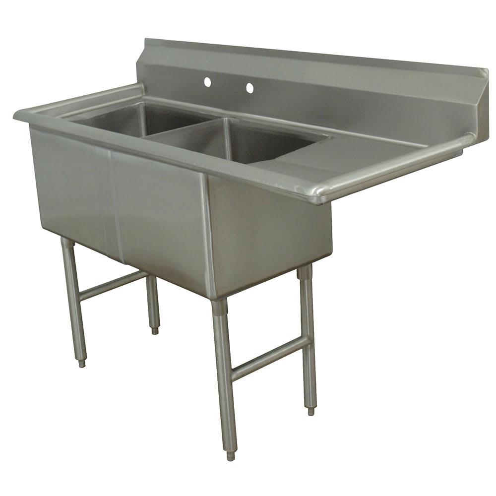 """Advance Tabco FC-2-1824-18R 56.5"""" 2-Compartment Sink w/ 18""""L x 24""""W Bowl, 14"""" Deep"""