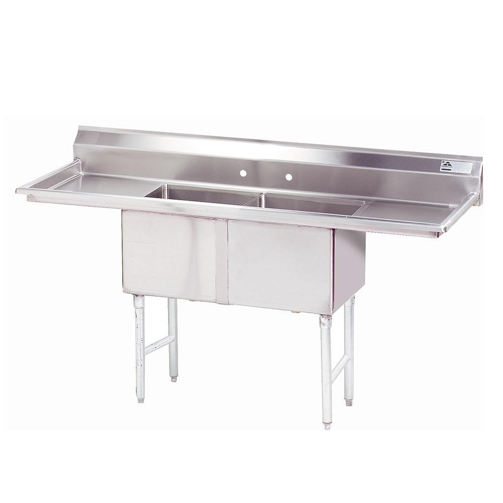 """Advance Tabco FC-2-1824-18RL 72"""" 2-Compartment Sink w/ 18""""L x 24""""W Bowl, 14"""" Deep"""