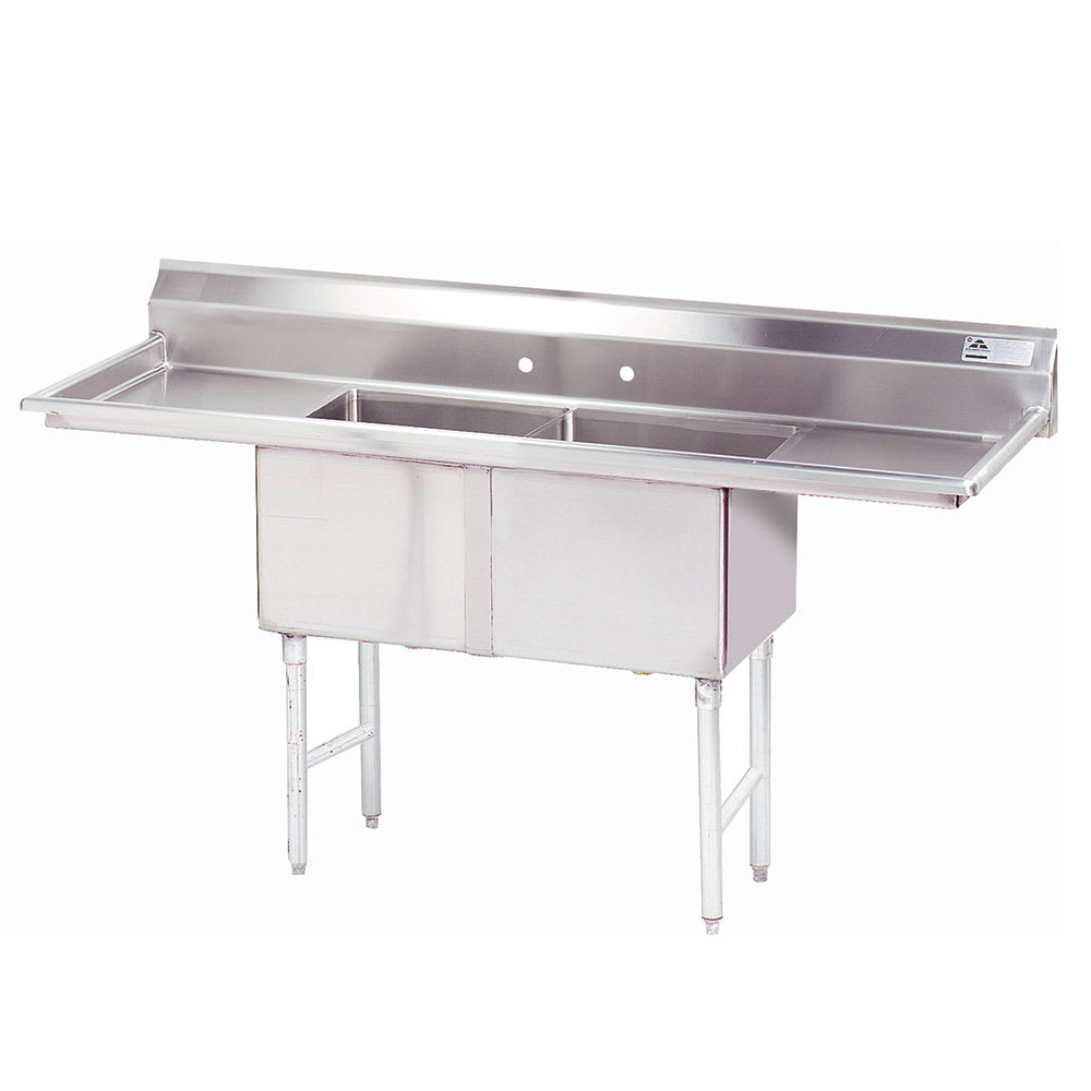 "Advance Tabco FC-2-1824-24RL 84"" 2-Compartment Sink w/ 18""L x 24""W Bowl, 14"" Deep"