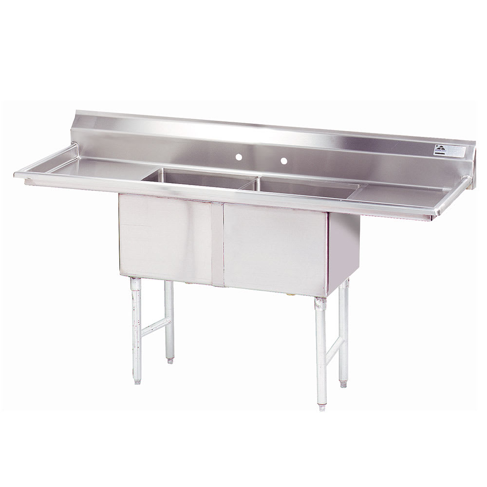 "Advance Tabco FC-2-2424-18RL 84"" 2 Compartment Sink w/ 24""L x 24""W Bowl, 14"" Deep"