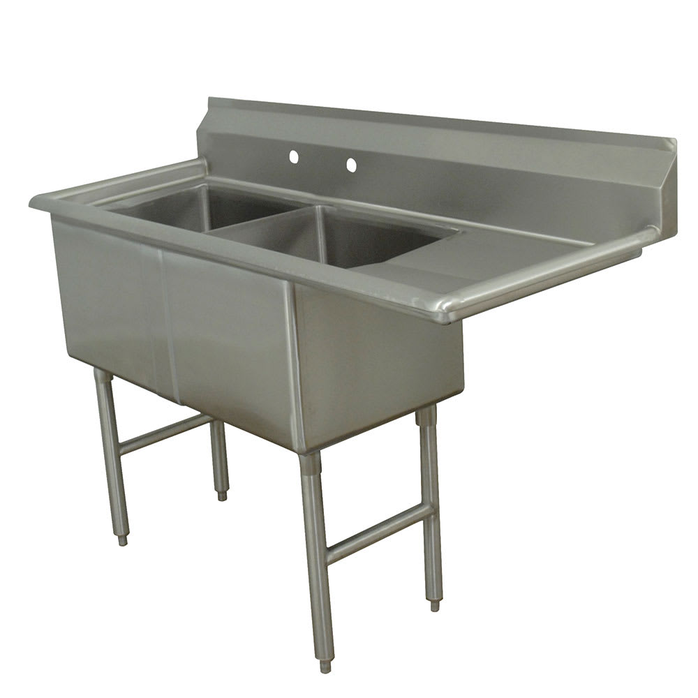 "Advance Tabco FC-2-2424-24R 74.5"" 2 Compartment Sink w/ 24""L x 24""W Bowl, 14"" Deep"