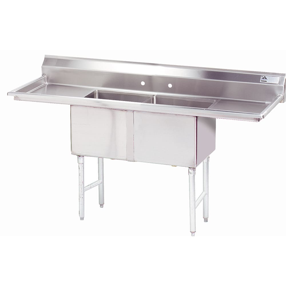 "Advance Tabco FC-2-2424-24RL-X 96"" 2-Compartment Sink w/ 24""L x 24""W Bowl, 14"" Deep"