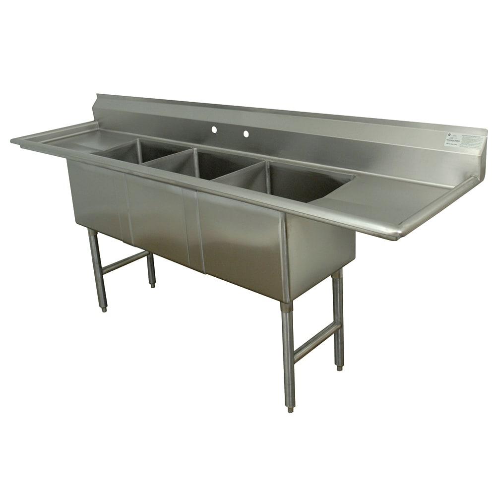 """Advance Tabco FC-3-1515-15RL 75"""" 3 Compartment Sink w/ 15""""L x 15""""W Bowl, 14"""" Deep"""