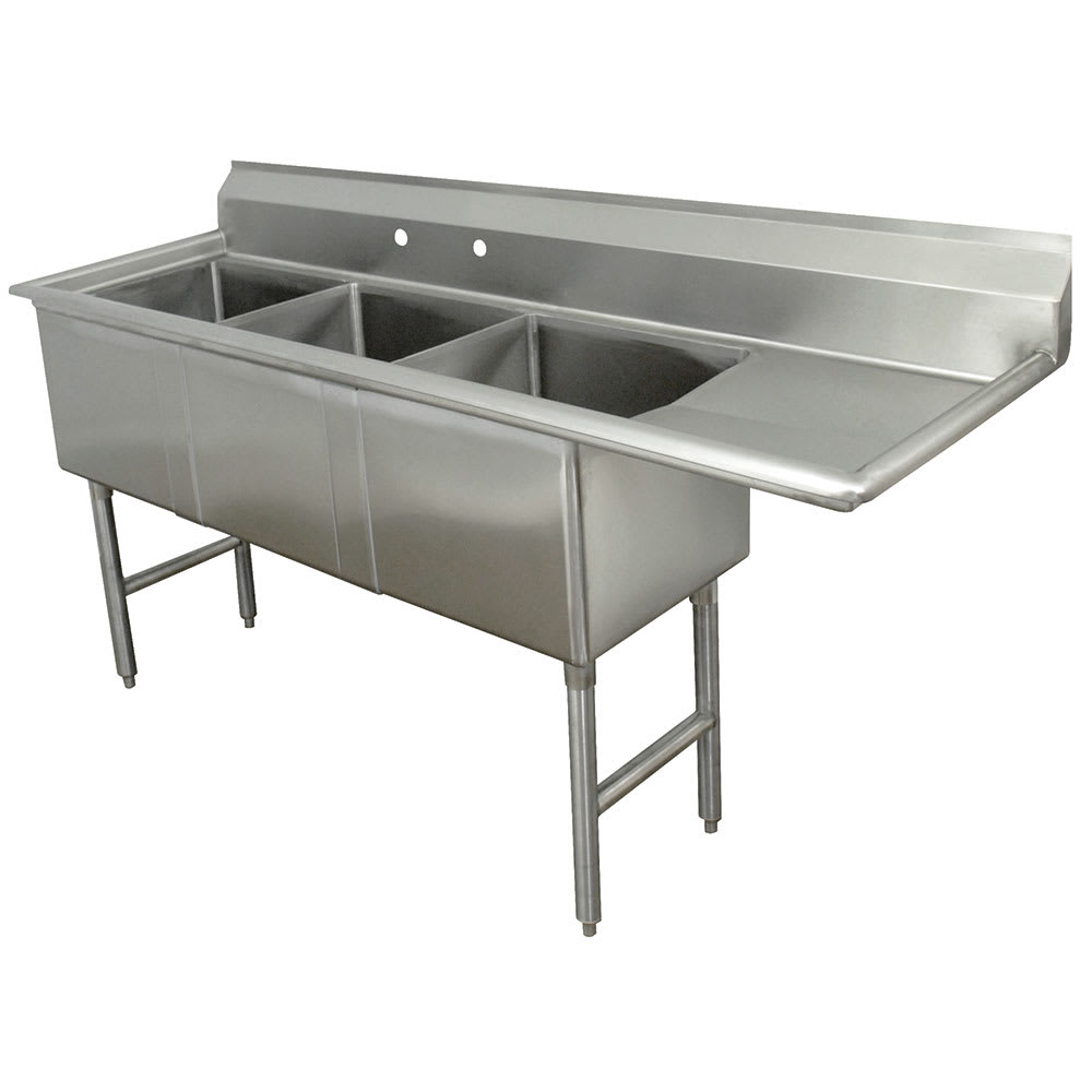 "Advance Tabco FC-3-1620-18R 68.5"" 3-Compartment Sink w/ 16""L x 20""W Bowl, 14"" Deep"