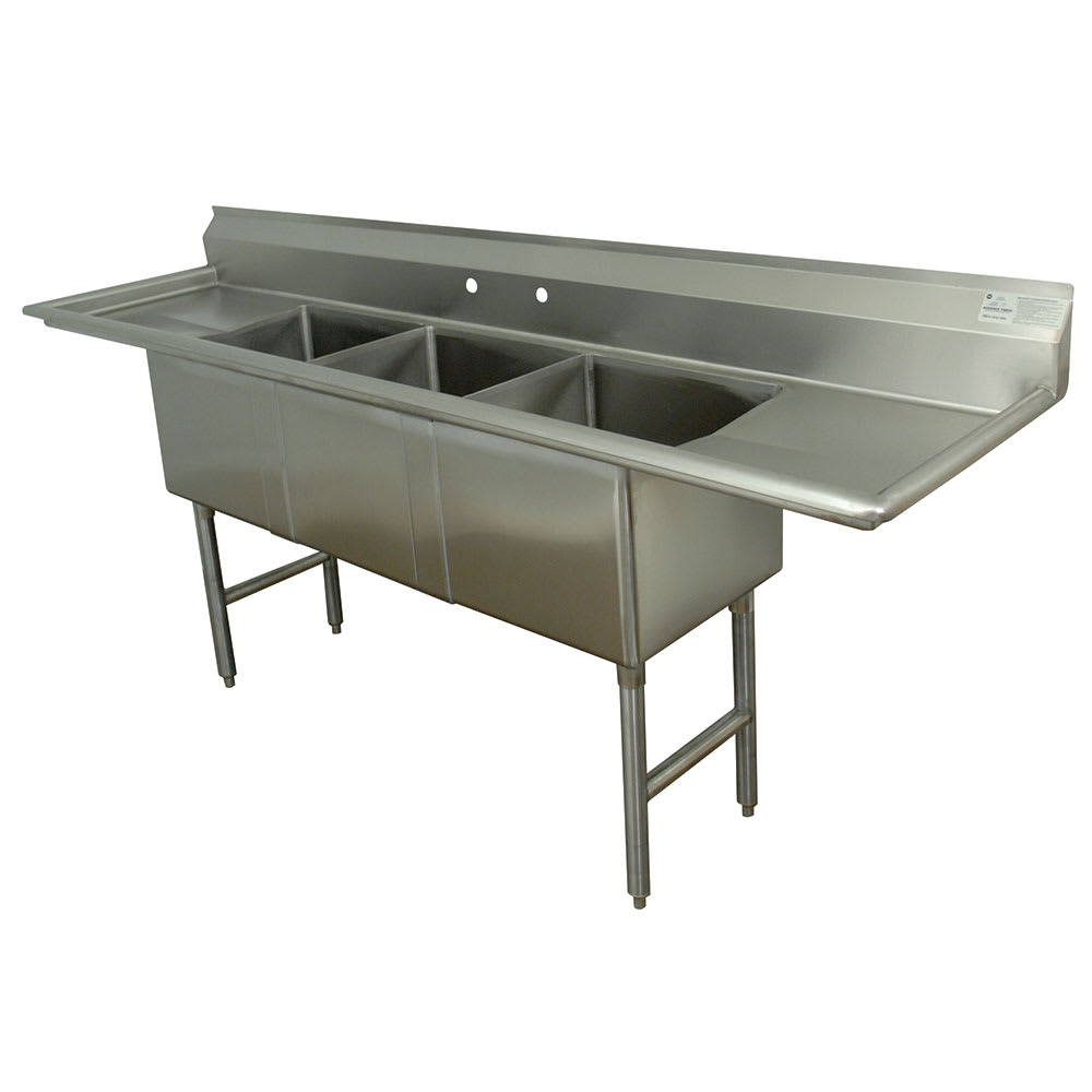 "Advance Tabco FC-3-2030-24RL 108"" 3-Compartment Sink w/ 20""L x 30""W Bowl, 14"" Deep"