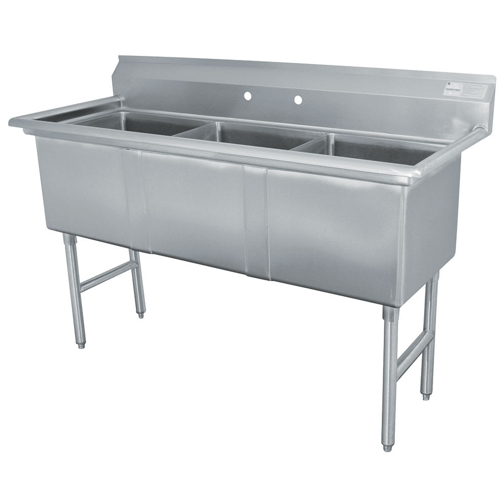 "Advance Tabco FC-3-2424 77"" 3-Compartment Sink w/ 24""L x 24""W Bowl, 14"" Deep"