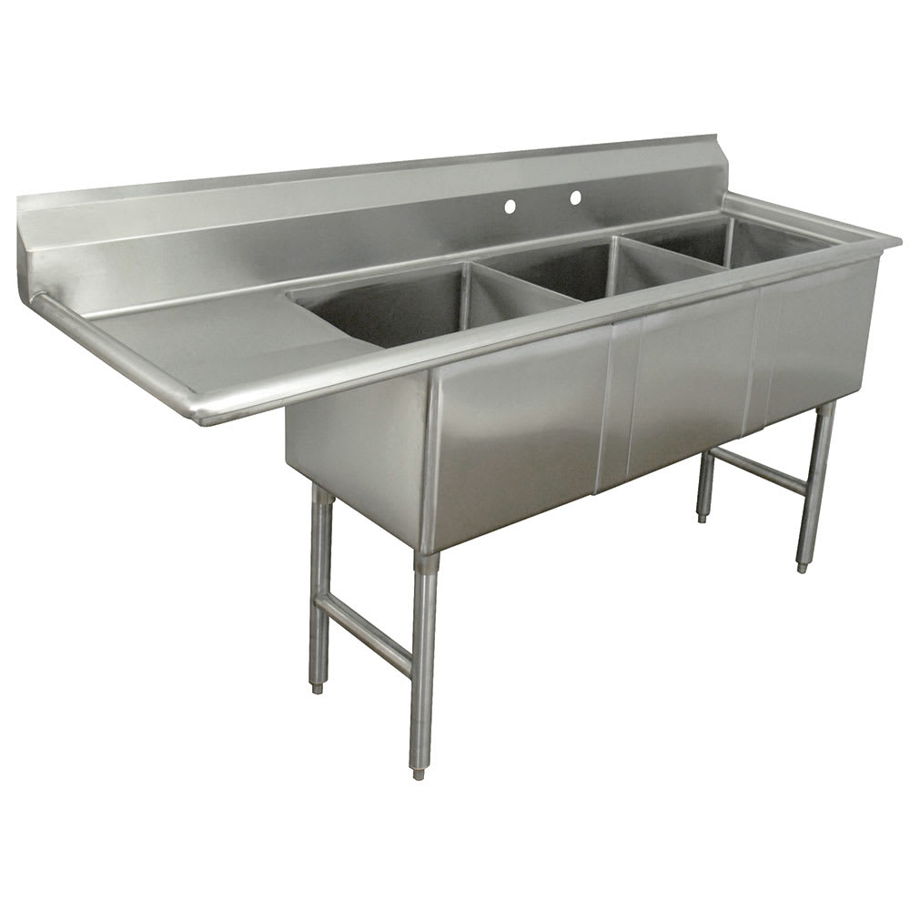 "Advance Tabco FC-3-2424-18L 92.5"" 3-Compartment Sink w/ 24""L x 24""W Bowl, 14"" Deep"