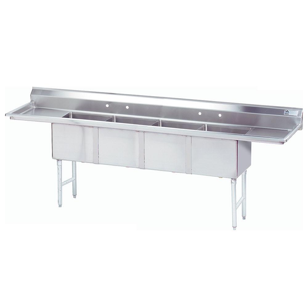 """Advance Tabco FC-4-1818-18RL 108"""" 4-Compartment Sink w/ 18""""L x 18""""W Bowl, 14"""" Deep"""
