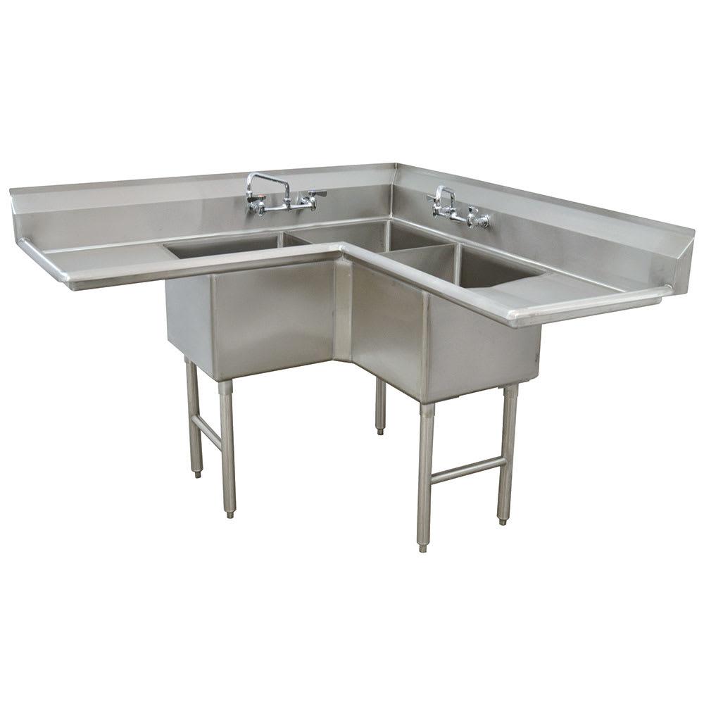"""Advance Tabco FC-K6-18D 57"""" 3-Compartment Sink w/ 18""""L x 18""""W Bowl, 14"""" Deep"""