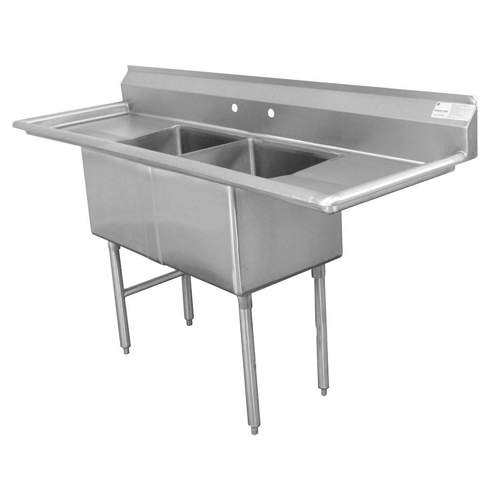 "Advance Tabco FE-2-1812-18RL-X 72"" 2-Compartment Sink w/ 18""L x 18""W Bowl, 12"" Deep"