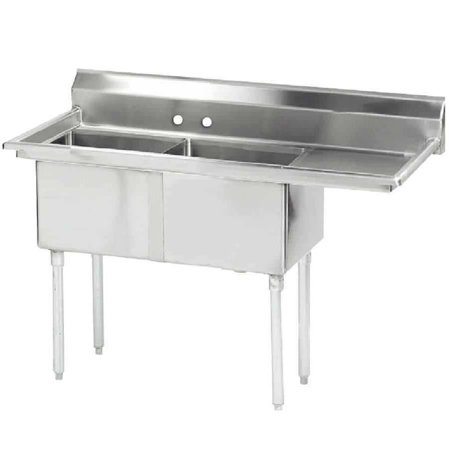 "Advance Tabco FE-2-1812-18R 2 Compartment Sink w/ 18""W x 18""L Bowl, 12"" Deep"