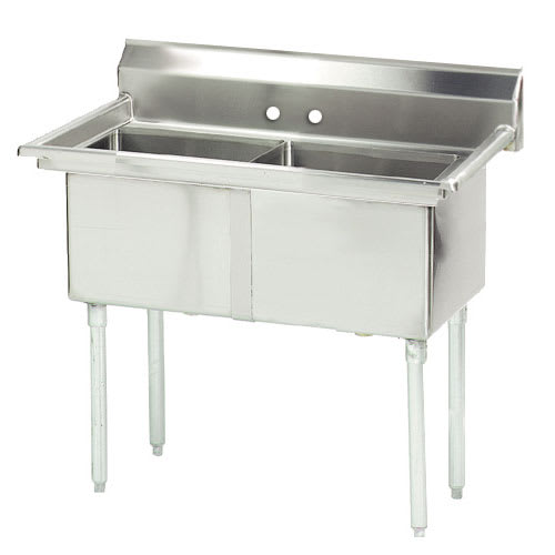 "Advance Tabco FE-2-1812-X 41"" 2-Compartment Sink w/ 18""L x 18""W Bowl, 12"" Deep"