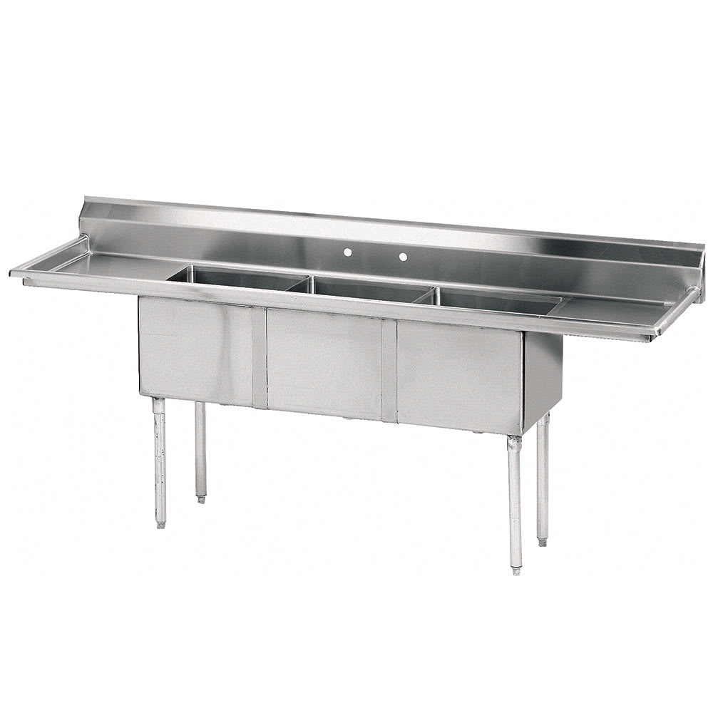 "Advance Tabco FE-3-1014-15RL-X 60"" 3-Compartment Sink w/ 10""L x 14""W Bowl, 10"" Deep"