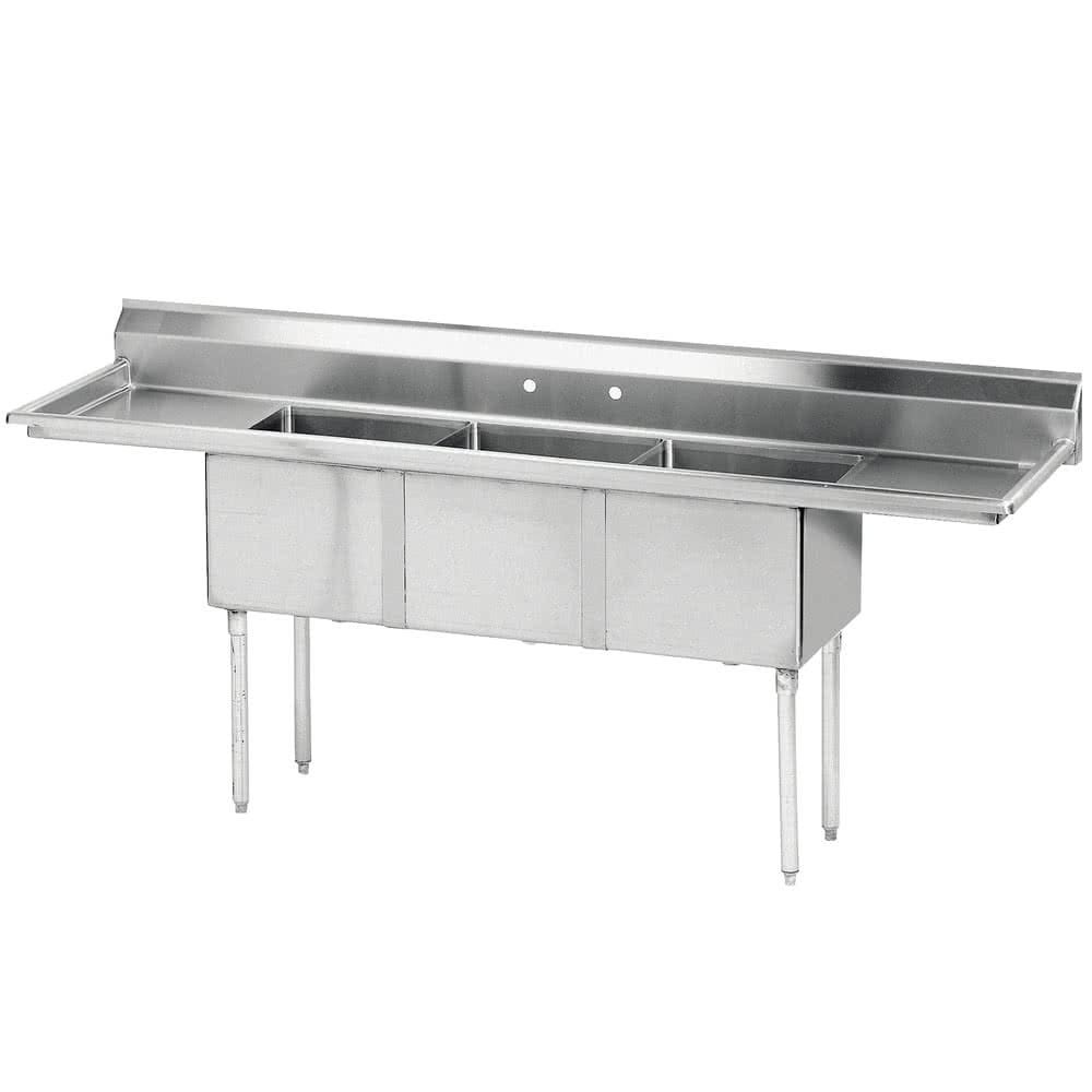 "Advance Tabco FE-3-1416-12RL 3-Compartment Sink w/ 14""W x 16""L Bowl, 12"" Deep"