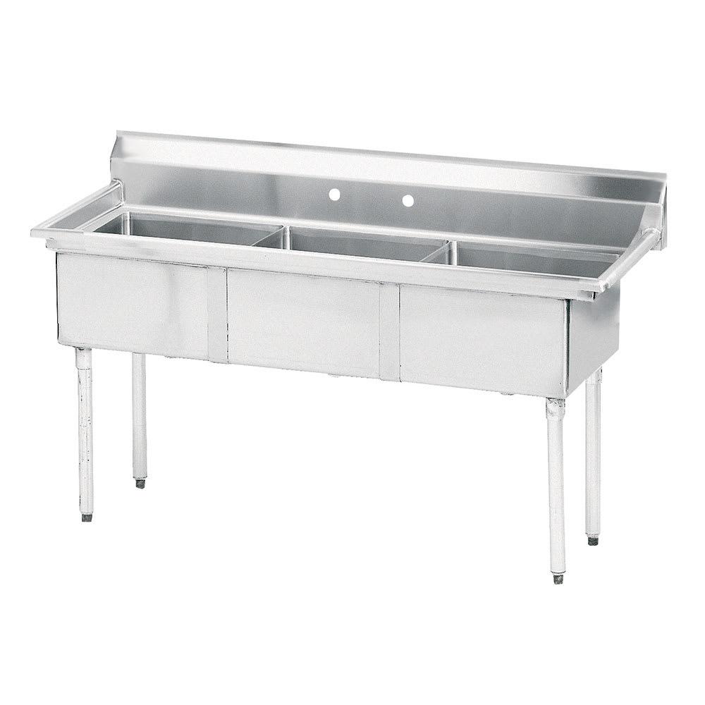 "Advance Tabco FE-3-1515-X 62.5"" 3-Compartment Sink w/ 15""L x 15""W Bowl, 12"" Deep"