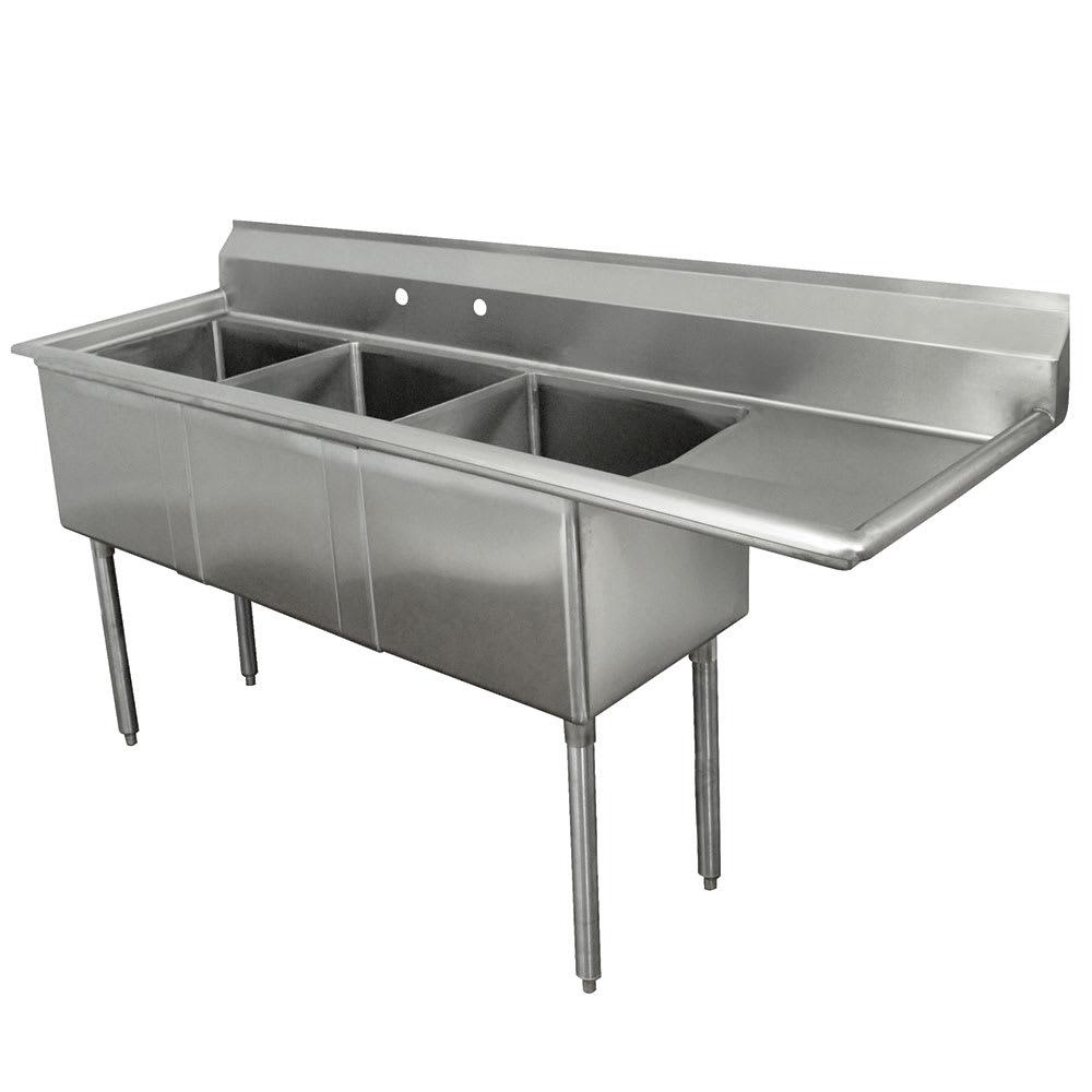 """Advance Tabco FE-3-1620-18R-X 68.5"""" 3-Compartment Sink w/ 16""""L x 20""""W Bowl, 12"""" Deep"""