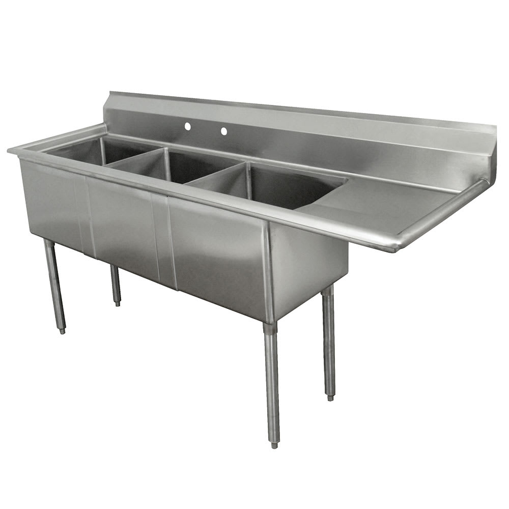 "Advance Tabco FE-3-1812-18R 74.5"" 3 Compartment Sink w/ 18""L x 18""W Bowl, 12"" Deep"
