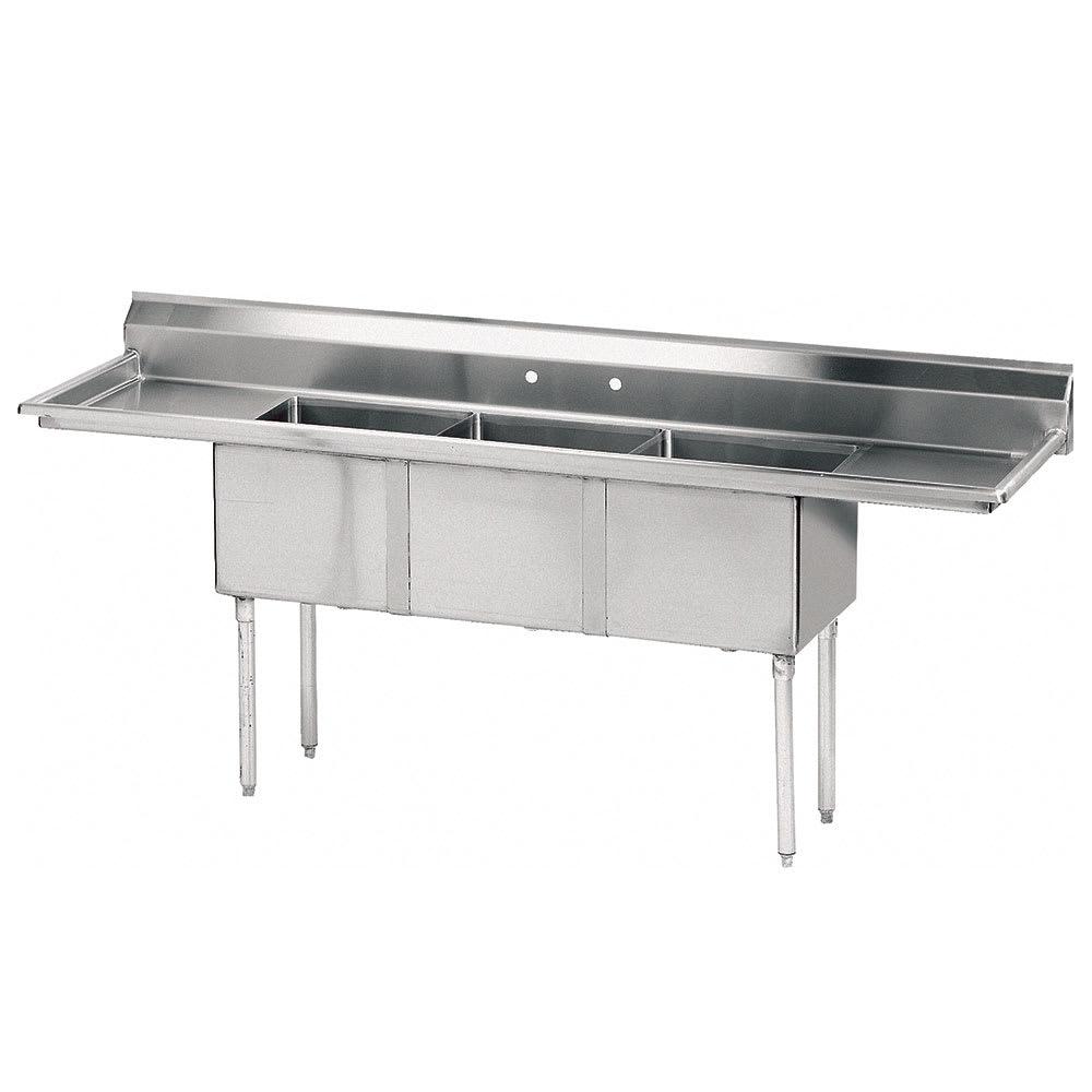 "Advance Tabco FE-3-1812-24RL 102"" 3 Compartment Sink w/ 18""L x 24""W Bowl, 12"" Deep"