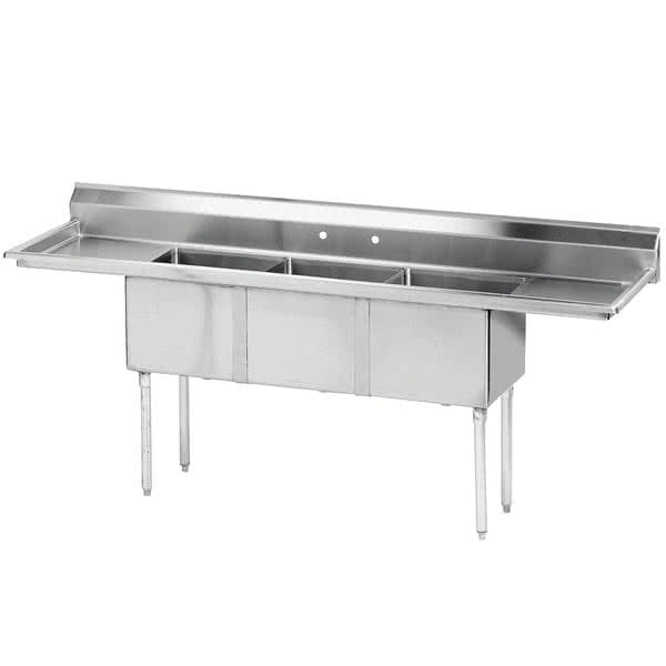 "Advance Tabco FE-3-1814-24RL 3 Compartment Sink w/ 18""L x 18""W Bowl, 14"" Deep"