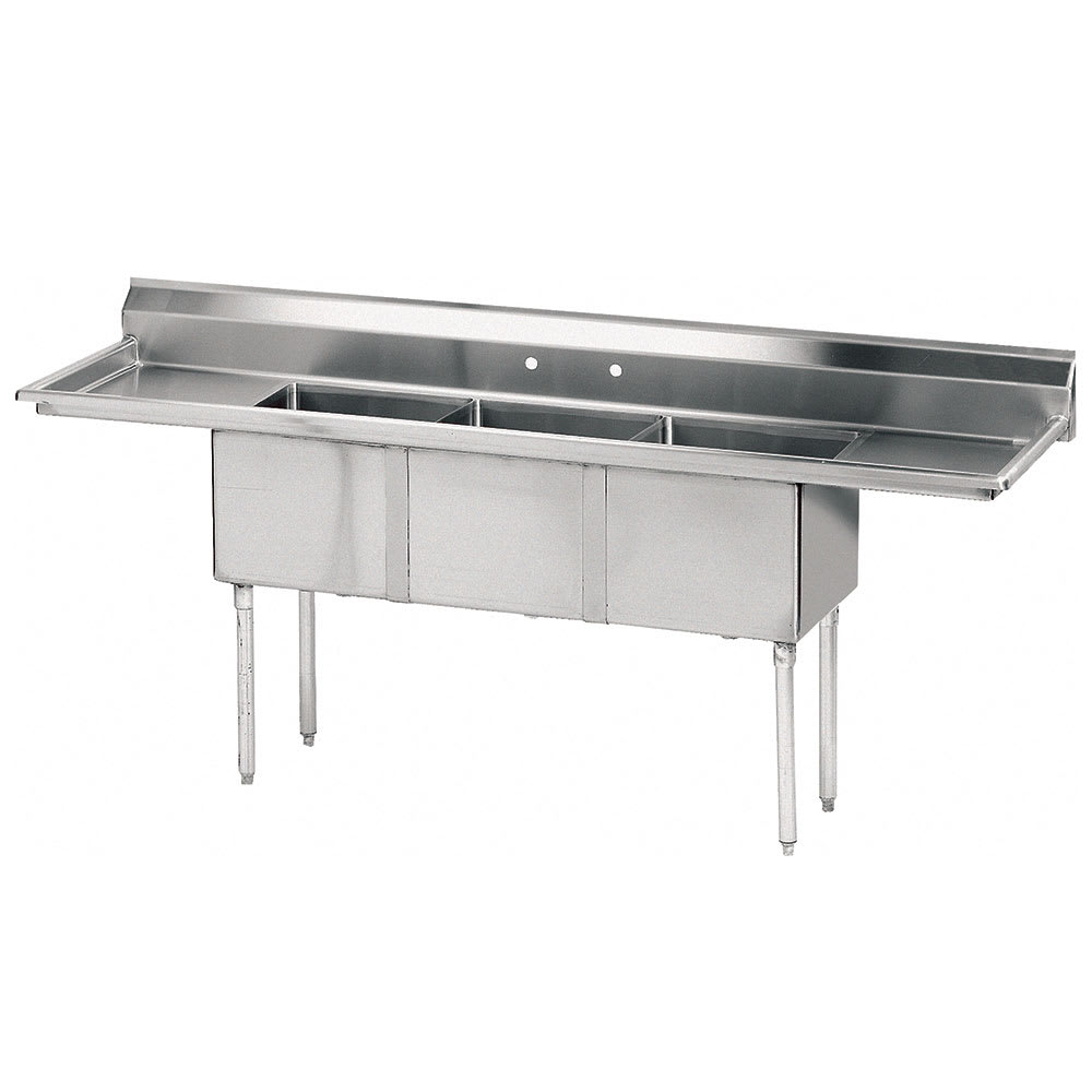 "Advance Tabco FE-3-1824-24RL-X 102"" 3-Compartment Sink w/ 18""L x 24""W Bowl, 14"" Deep"