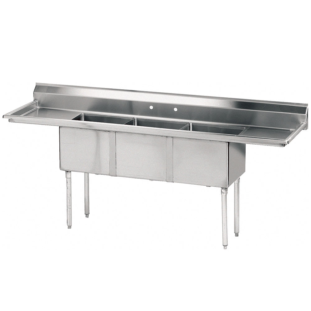 "Advance Tabco FE-3-2424-24RL 120"" 3-Compartment Sink w/ 24""L x 24""W Bowl, 14"" Deep"