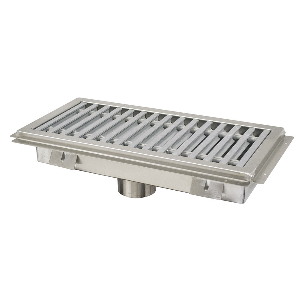 Advance Tabco FFTG-1884 Floor Trough - Removable Strainer Basket, Fiberglass Grating, 18x84x4