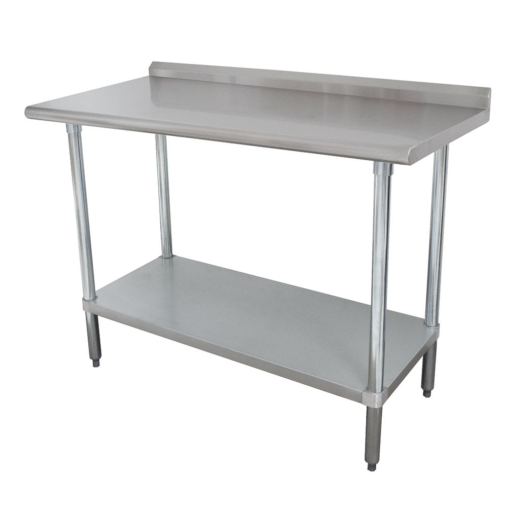 "Advance Tabco FLAG-307 84"" 16-ga Work Table w/ Undershelf & 430-Series Stainless Top, 1.5"" Backsplash"