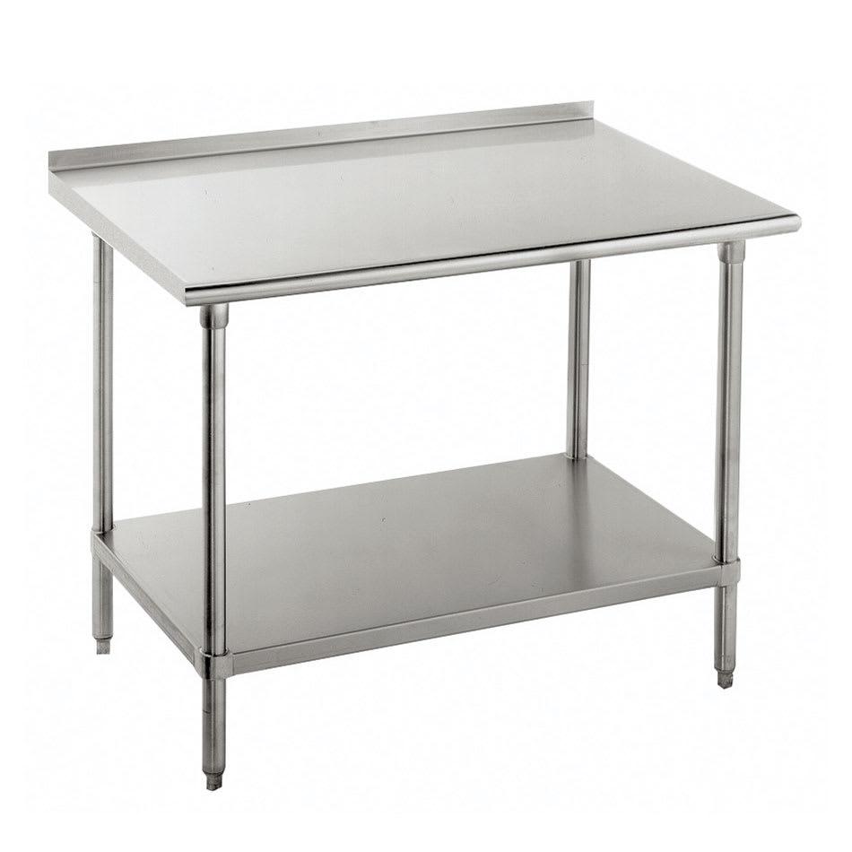 "Advance Tabco FLG-3610 120"" 14 ga Work Table w/ Undershelf & 304 Series Stainless Top, 1.5"" Backsplash"