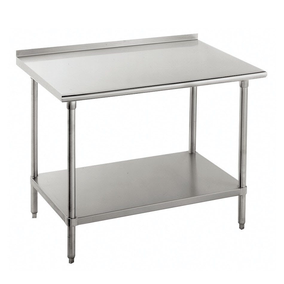 "Advance Tabco FMG-3010 120"" 16-ga Work Table w/ Undershelf & 304-Series Stainless Top, 1.5"" Backsplash"