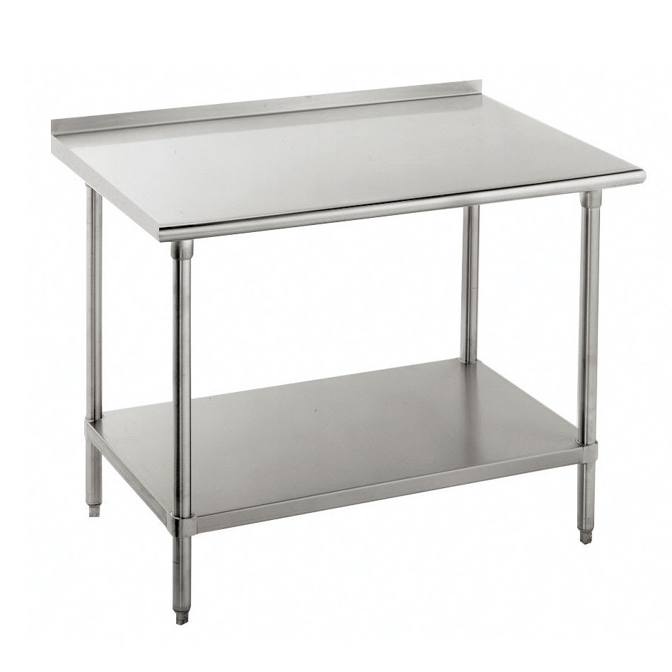 "Advance Tabco FMS-308 96"" 16 ga Work Table w/ Undershelf & 304 Series Stainless Top, 1.5"" Backsplash"