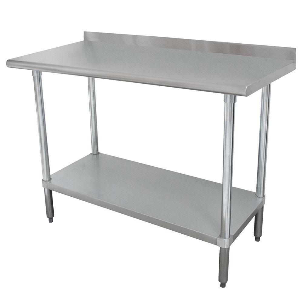 "Advance Tabco FMSLAG-302 24"" 16 ga Work Table w/ Undershelf & 304 Series Stainless Steel Top, 1.5"" Backsplash"