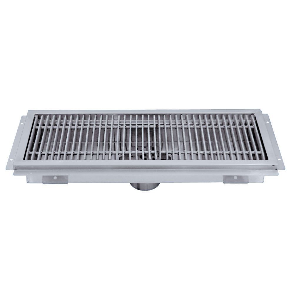"Advance Tabco FRG-48 Floor Water Receptacle - Subway Grating, 12x48x2"", 14 ga 304 Stainless"