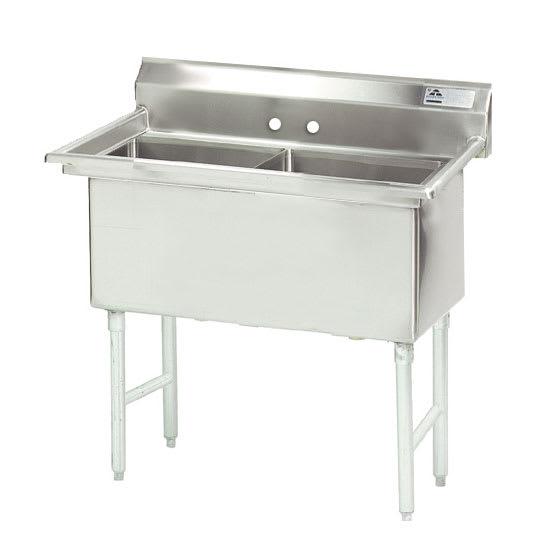 """Advance Tabco FS-2-1818 41"""" 2 Compartment Sink w/ 18""""L x 18""""W Bowl, 14"""" Deep"""