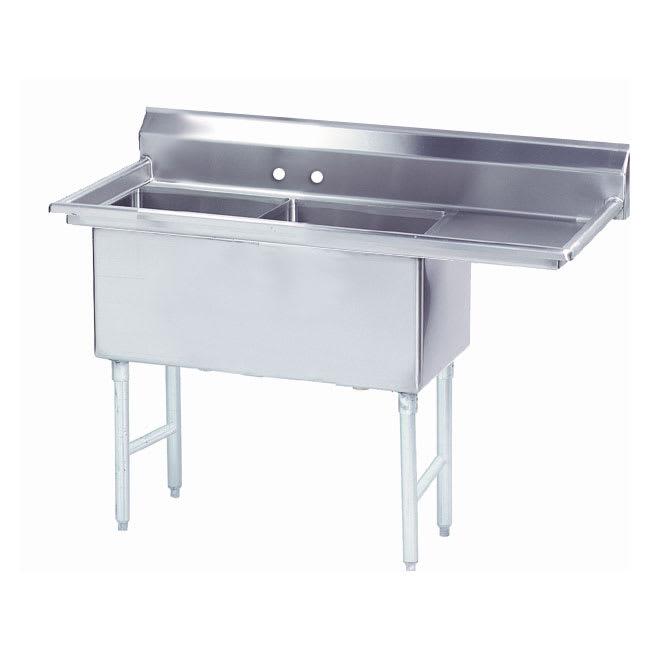 """Advance Tabco FS-2-1818-18R 56.5"""" 2 Compartment Sink w/ 18""""L x 18""""W Bowl, 14"""" Deep"""