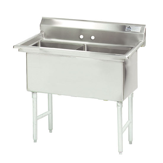 """Advance Tabco FS-2-1824 41"""" 2 Compartment Sink w/ 18""""L x 24""""W Bowl, 14"""" Deep"""
